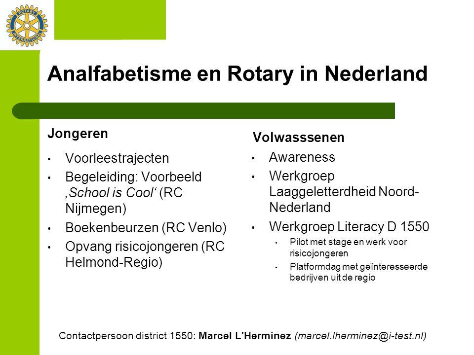 Analfabetisme en Rotary in Nederland Jongeren Voorleestrajecten Begeleiding: Voorbeeld 'School is Cool' (RC Nijmegen) Boekenbeurzen (RC Venlo) Opvang