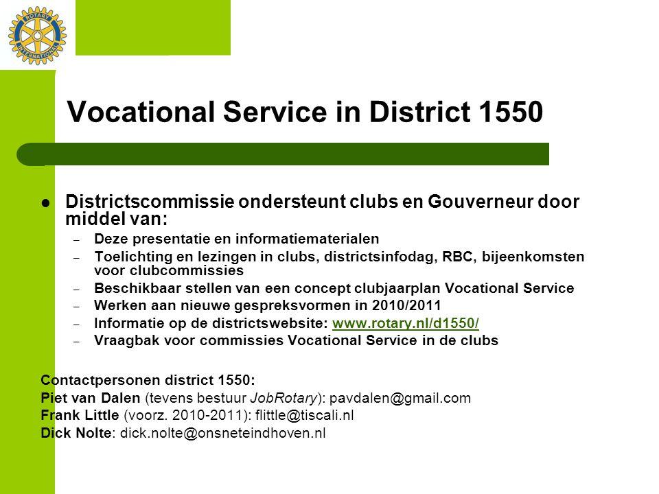 Vocational Service in District 1550 Districtscommissie ondersteunt clubs en Gouverneur door middel van: – Deze presentatie en informatiematerialen – T
