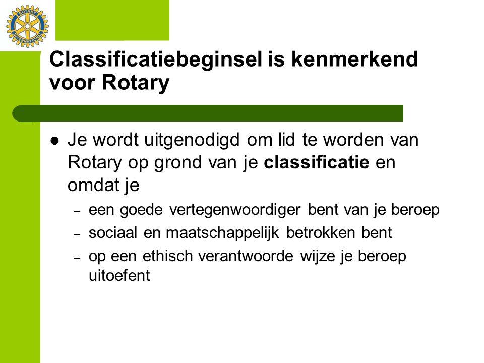 Classificatiebeginsel is kenmerkend voor Rotary Je wordt uitgenodigd om lid te worden van Rotary op grond van je classificatie en omdat je – een goede