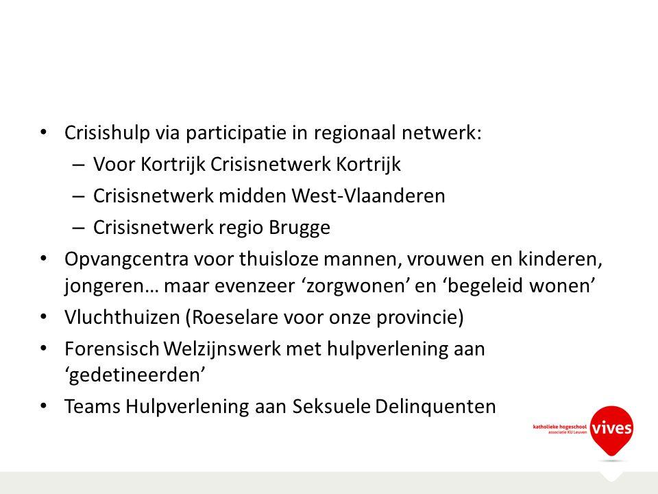 Crisishulp via participatie in regionaal netwerk: – Voor Kortrijk Crisisnetwerk Kortrijk – Crisisnetwerk midden West-Vlaanderen – Crisisnetwerk regio