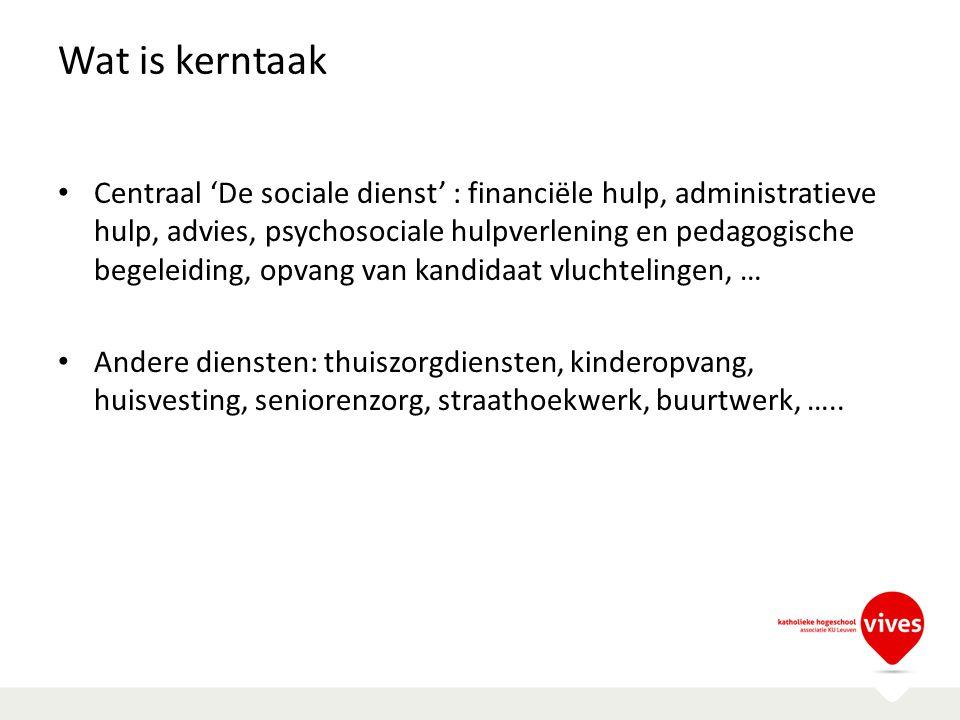 Wat is kerntaak Centraal 'De sociale dienst' : financiële hulp, administratieve hulp, advies, psychosociale hulpverlening en pedagogische begeleiding,