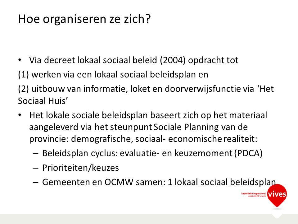 Hoe organiseren ze zich? Via decreet lokaal sociaal beleid (2004) opdracht tot (1) werken via een lokaal sociaal beleidsplan en (2) uitbouw van inform