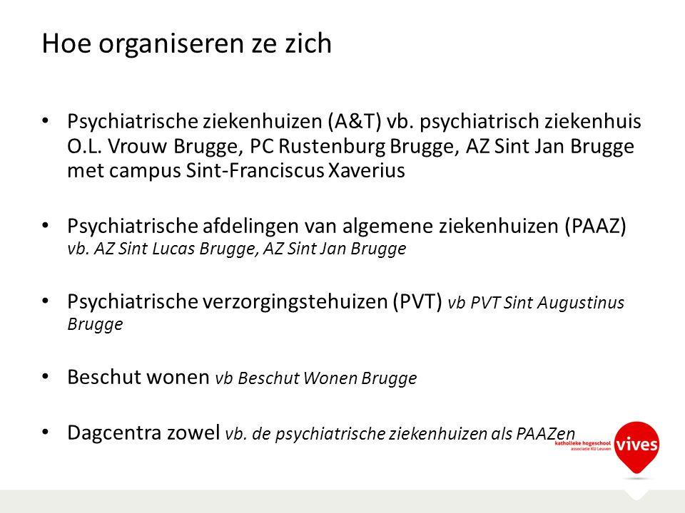 Hoe organiseren ze zich Psychiatrische ziekenhuizen (A&T) vb. psychiatrisch ziekenhuis O.L. Vrouw Brugge, PC Rustenburg Brugge, AZ Sint Jan Brugge met