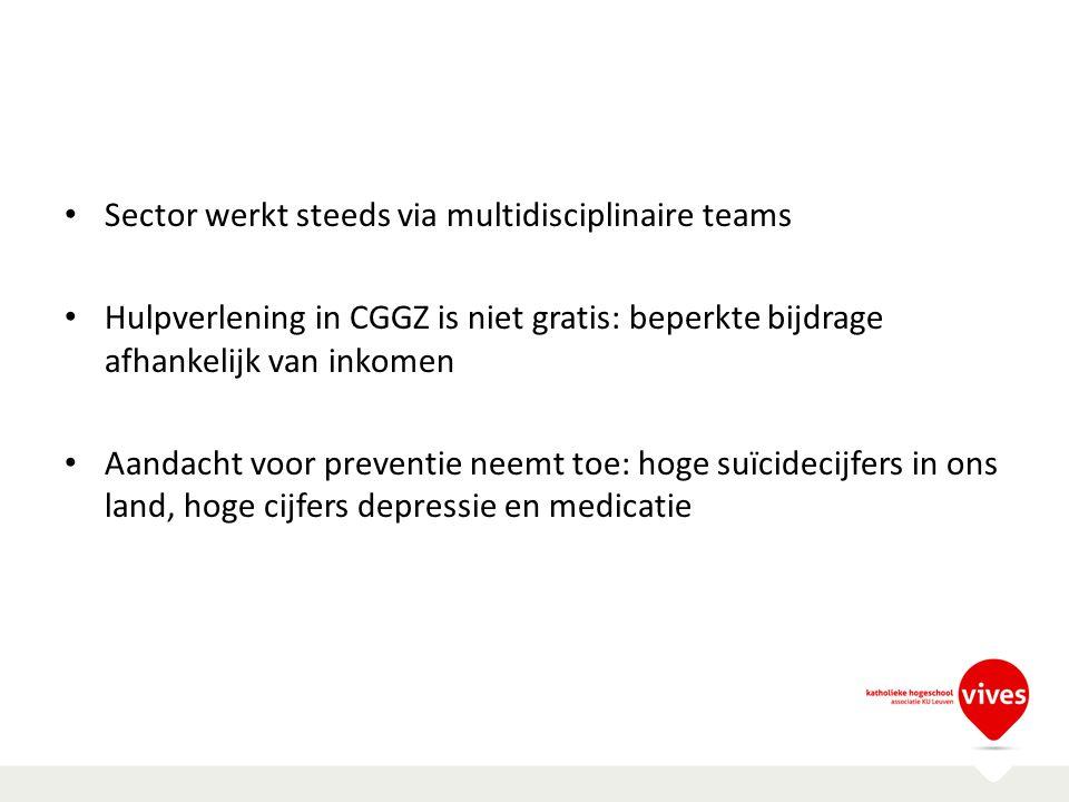 Sector werkt steeds via multidisciplinaire teams Hulpverlening in CGGZ is niet gratis: beperkte bijdrage afhankelijk van inkomen Aandacht voor prevent