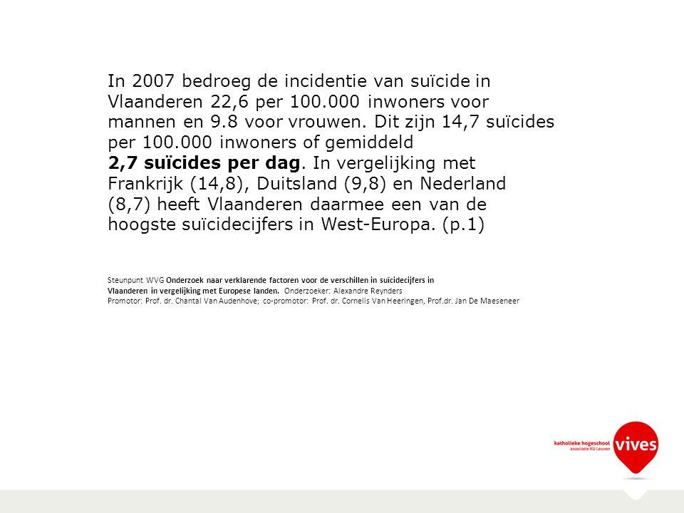 In 2007 bedroeg de incidentie van suïcide in Vlaanderen 22,6 per 100.000 inwoners voor mannen en 9.8 voor vrouwen. Dit zijn 14,7 suïcides per 100.000