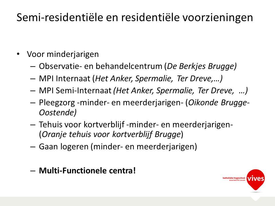 Semi-residentiële en residentiële voorzieningen Voor minderjarigen – Observatie- en behandelcentrum (De Berkjes Brugge) – MPI Internaat (Het Anker, Sp