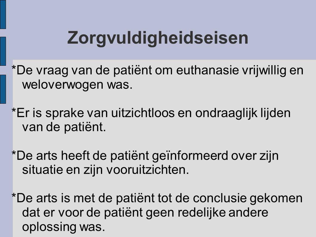 Zorgvuldigheidseisen *De vraag van de patiënt om euthanasie vrijwillig en weloverwogen was.