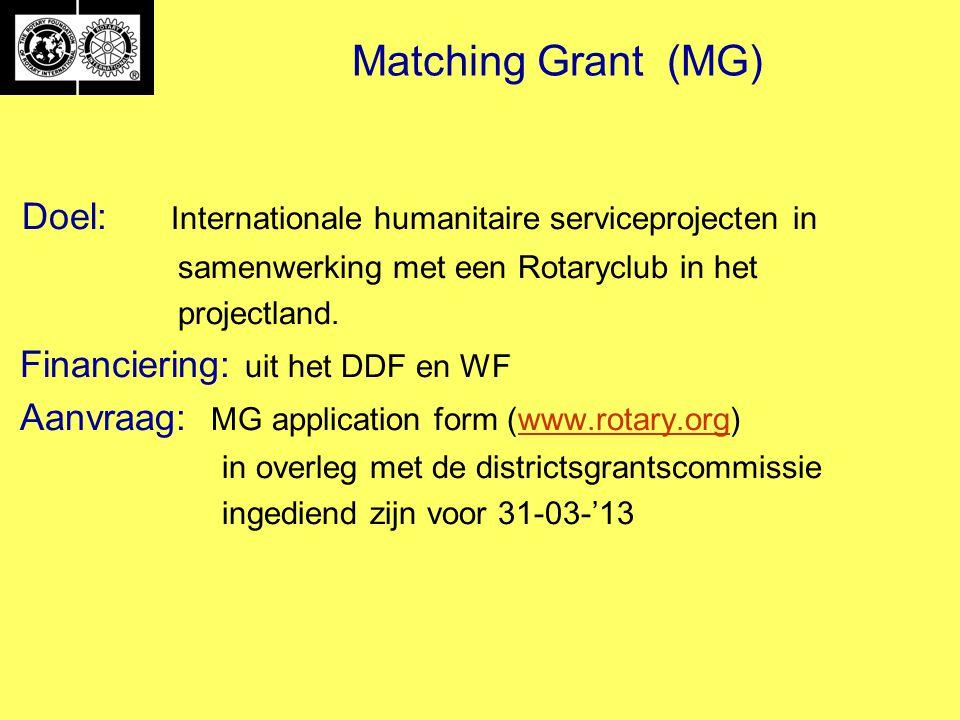 Matching Grant (MG) Doel: Internationale humanitaire serviceprojecten in samenwerking met een Rotaryclub in het projectland.