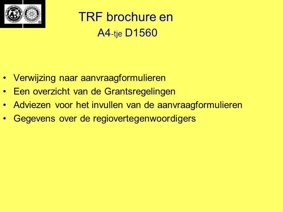 TRF brochure en A4 -tje D1560 Verwijzing naar aanvraagformulieren Een overzicht van de Grantsregelingen Adviezen voor het invullen van de aanvraagformulieren Gegevens over de regiovertegenwoordigers