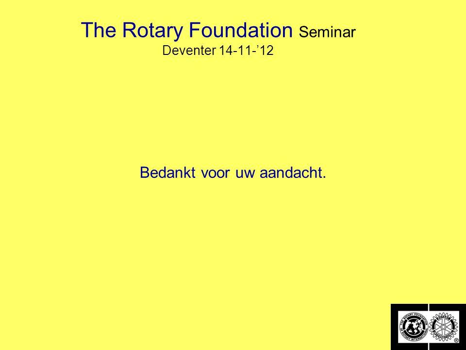 The Rotary Foundation Seminar Deventer 14-11-'12 Bedankt voor uw aandacht.