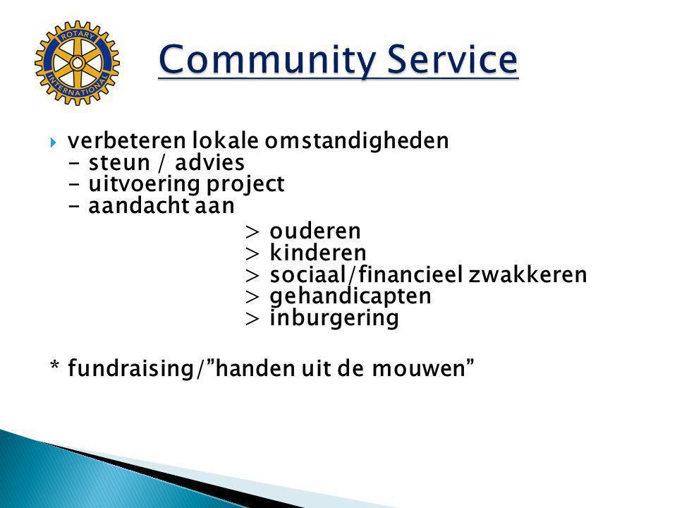  verbeteren lokale omstandigheden - steun / advies - uitvoering project - aandacht aan > ouderen > kinderen > sociaal/financieel zwakkeren > gehandicapten > inburgering * fundraising/ handen uit de mouwen