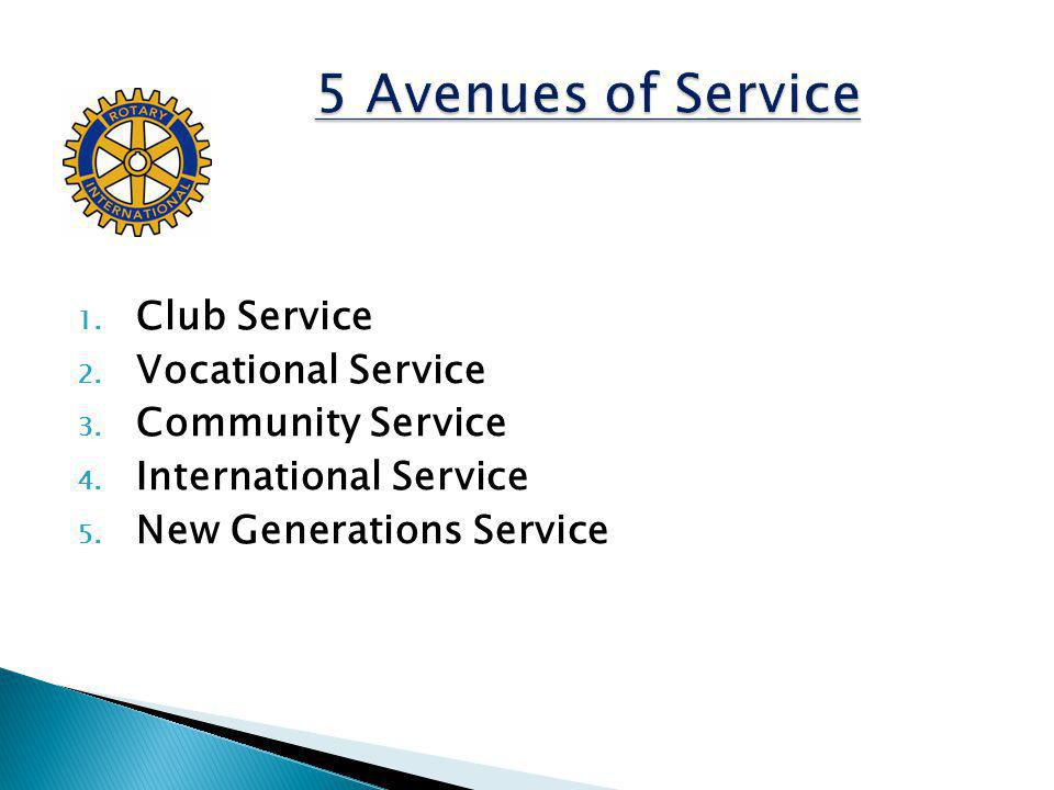 1.Club Service 2. Vocational Service 3. Community Service 4.