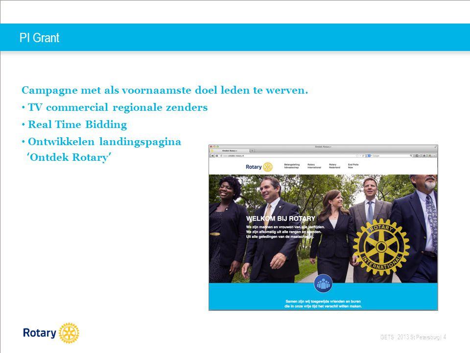 GETS 2013 St Petersburg| 4 PI Grant Campagne met als voornaamste doel leden te werven. TV commercial regionale zenders Real Time Bidding Ontwikkelen l