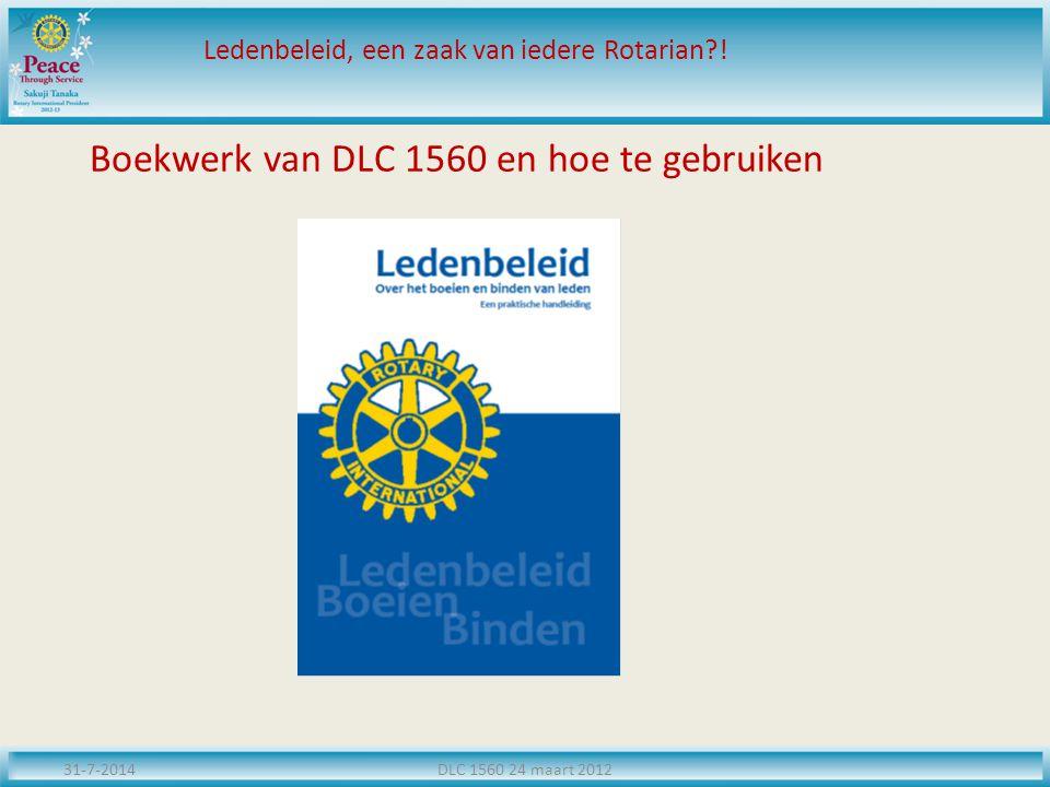 Boekwerk van DLC 1560 en hoe te gebruiken 31-7-2014DLC 1560 24 maart 2012 Ledenbeleid, een zaak van iedere Rotarian?!