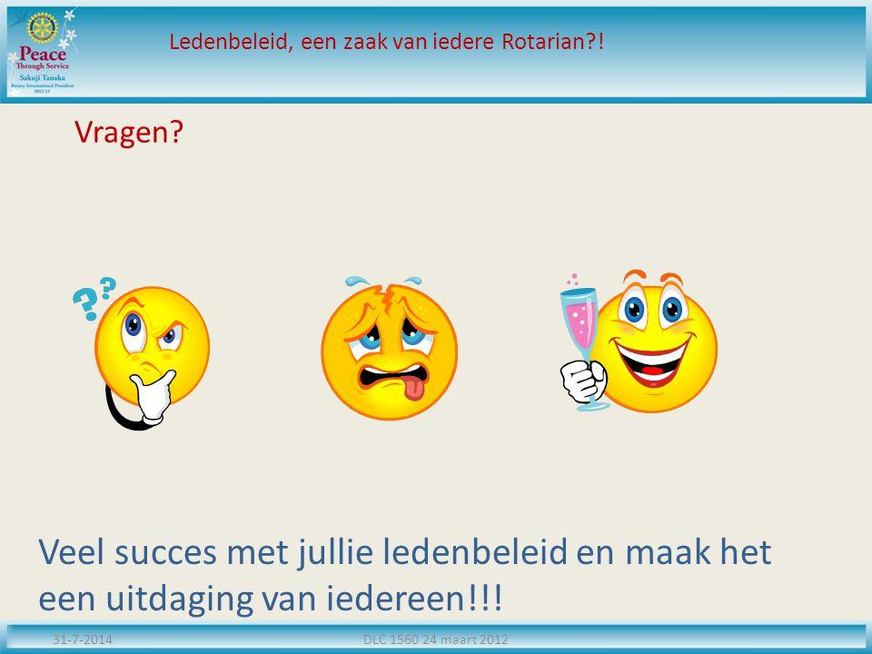 Vragen.31-7-2014DLC 1560 24 maart 2012 Ledenbeleid, een zaak van iedere Rotarian?.