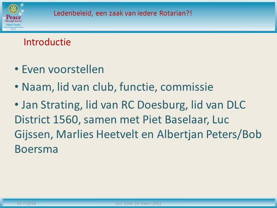 Introductie Even voorstellen Naam, lid van club, functie, commissie Jan Strating, lid van RC Doesburg, lid van DLC District 1560, samen met Piet Basel