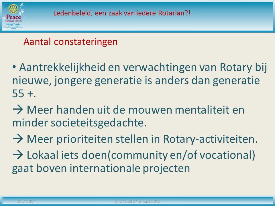 Aantal constateringen Aantrekkelijkheid en verwachtingen van Rotary bij nieuwe, jongere generatie is anders dan generatie 55 +.