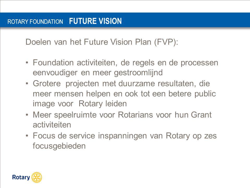 Doelen van het Future Vision Plan (FVP): Foundation activiteiten, de regels en de processen eenvoudiger en meer gestroomlijnd Grotere projecten met duurzame resultaten, die meer mensen helpen en ook tot een betere public image voor Rotary leiden Meer speelruimte voor Rotarians voor hun Grant activiteiten Focus de service inspanningen van Rotary op zes focusgebieden ROTARY FOUNDATION FUTURE VISION