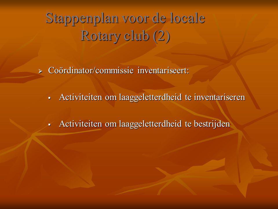 Stappenplan voor de locale Rotary club (2)  Coördinator/commissie inventariseert:  Activiteiten om laaggeletterdheid te inventariseren  Activiteite