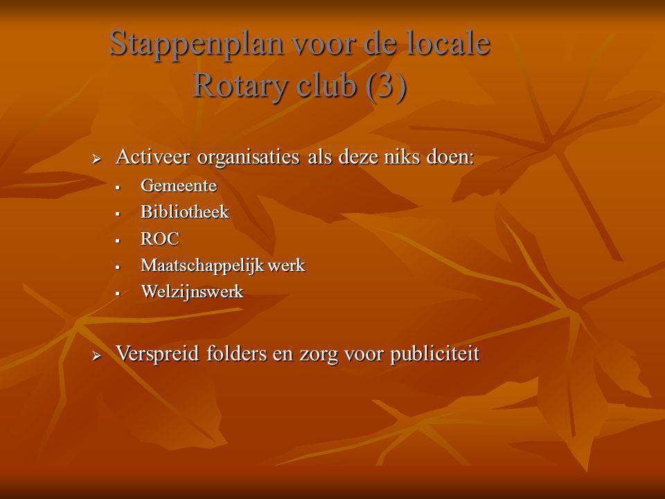 Stappenplan voor de locale Rotary club (3)  Activeer organisaties als deze niks doen:  Gemeente  Bibliotheek  ROC  Maatschappelijk werk  Welzijn