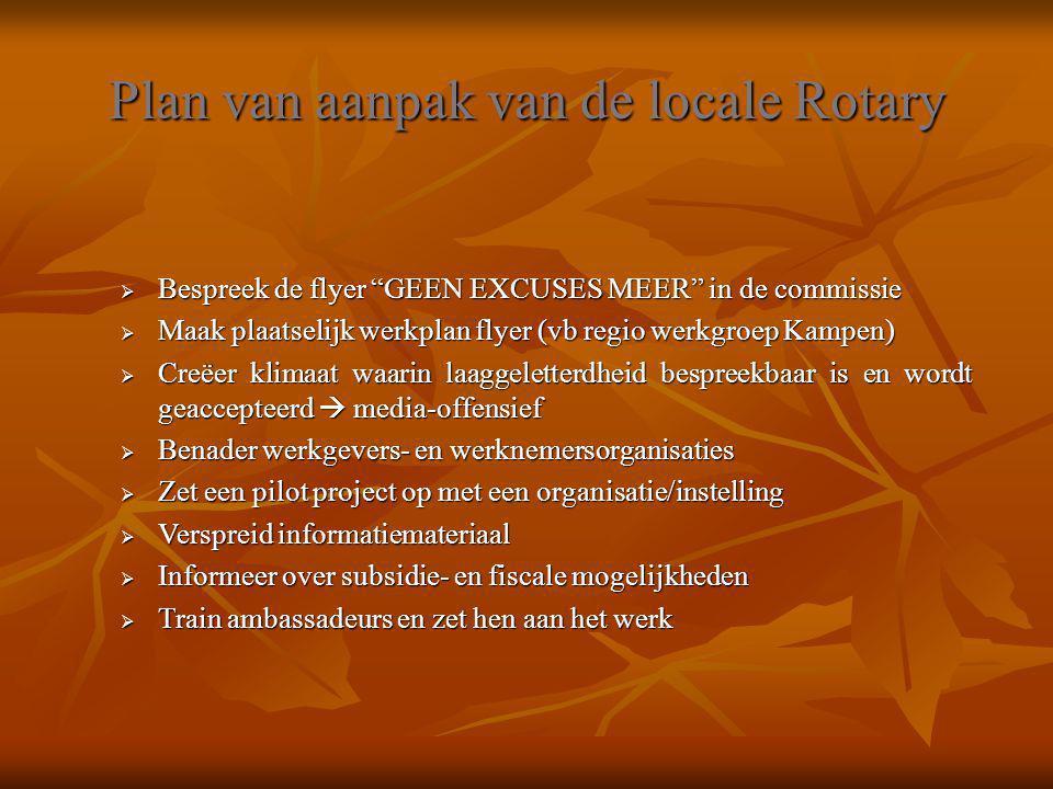 """Plan van aanpak van de locale Rotary  Bespreek de flyer """"GEEN EXCUSES MEER"""" in de commissie  Maak plaatselijk werkplan flyer (vb regio werkgroep Kam"""