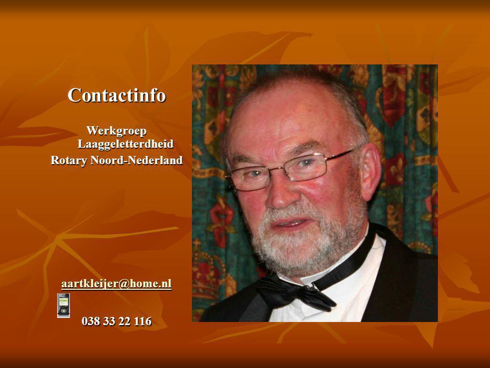 Contactinfo Werkgroep Laaggeletterdheid Rotary Noord-Nederland aartkleijer@home.nl 038 33 22 116