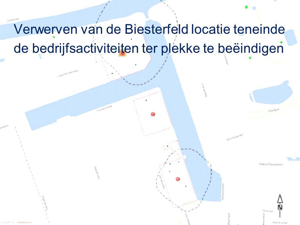 Verwerven van de Biesterfeld locatie teneinde de bedrijfsactiviteiten ter plekke te beëindigen