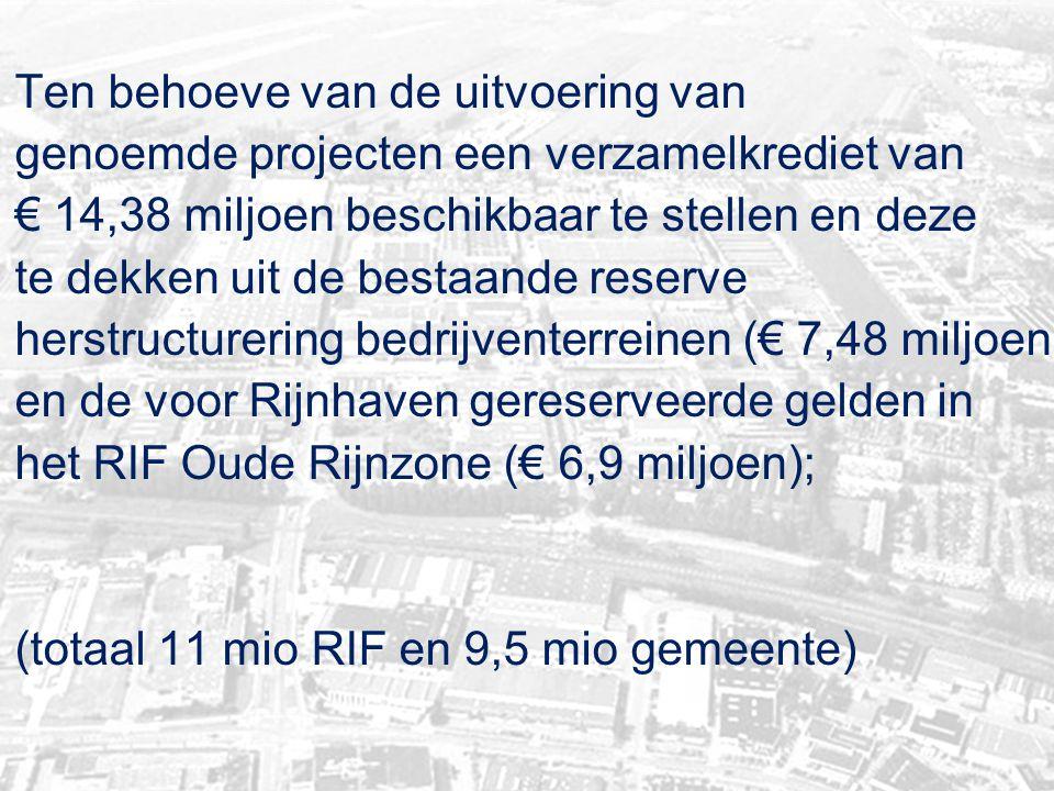 Ten behoeve van de uitvoering van genoemde projecten een verzamelkrediet van € 14,38 miljoen beschikbaar te stellen en deze te dekken uit de bestaande