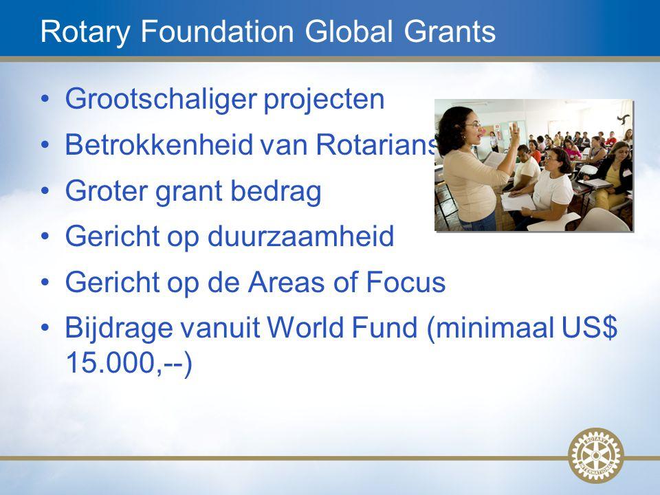 12 Rotary Foundation Global Grants Grootschaliger projecten Betrokkenheid van Rotariansn Groter grant bedrag Gericht op duurzaamheid Gericht op de Are