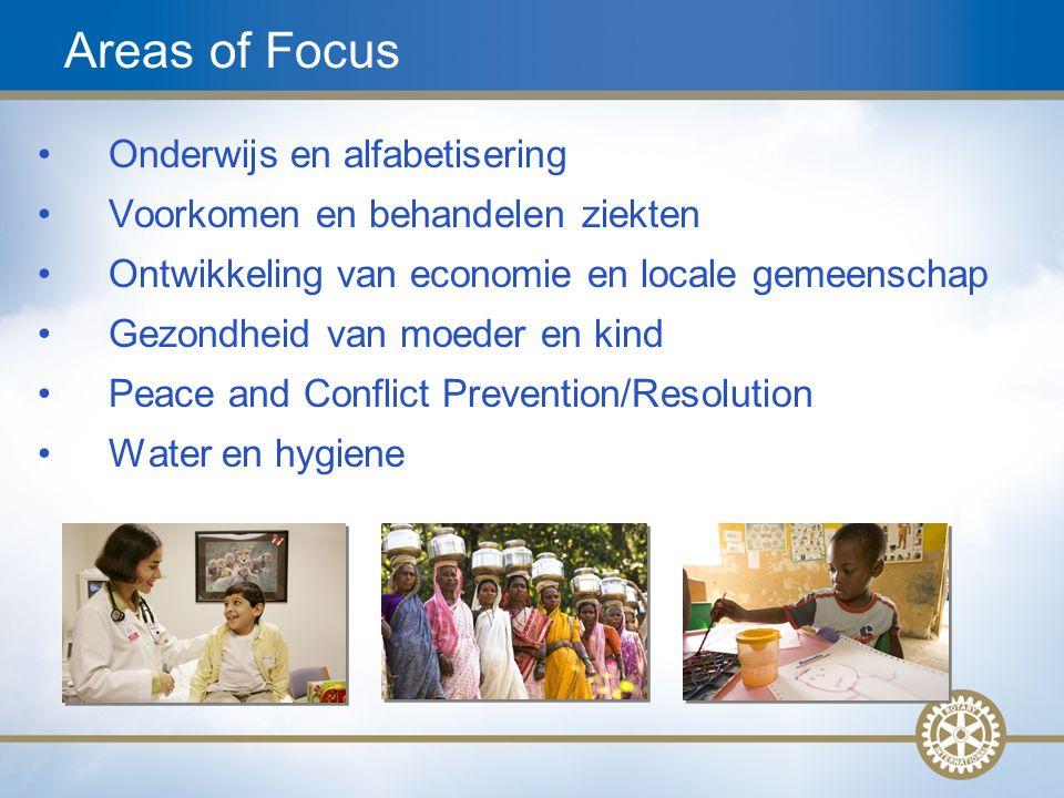 13 Onderwijs en alfabetisering Voorkomen en behandelen ziekten Ontwikkeling van economie en locale gemeenschap Gezondheid van moeder en kind Peace and