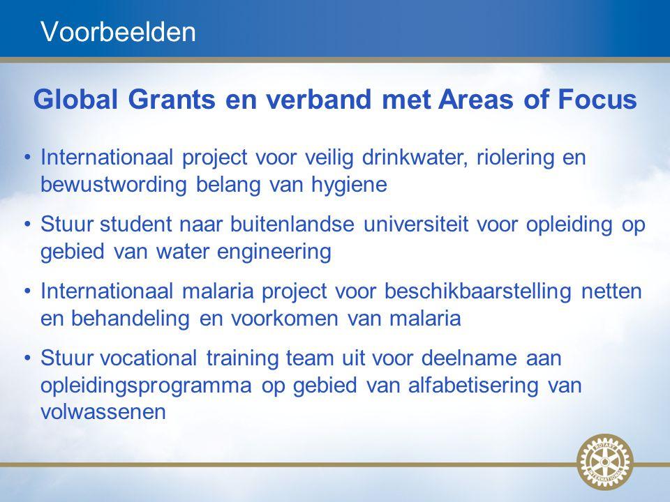 14 Voorbeelden Global Grants en verband met Areas of Focus Internationaal project voor veilig drinkwater, riolering en bewustwording belang van hygien