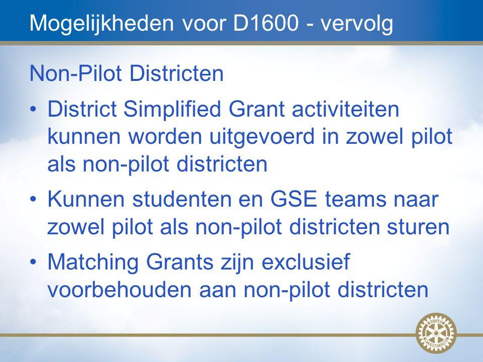 17 Mogelijkheden voor D1600 - vervolg Non-Pilot Districten District Simplified Grant activiteiten kunnen worden uitgevoerd in zowel pilot als non-pilo
