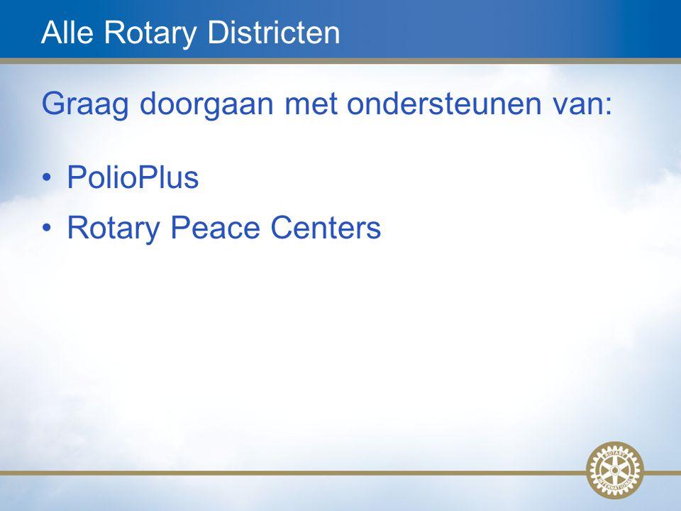 18 Alle Rotary Districten Graag doorgaan met ondersteunen van: PolioPlus Rotary Peace Centers
