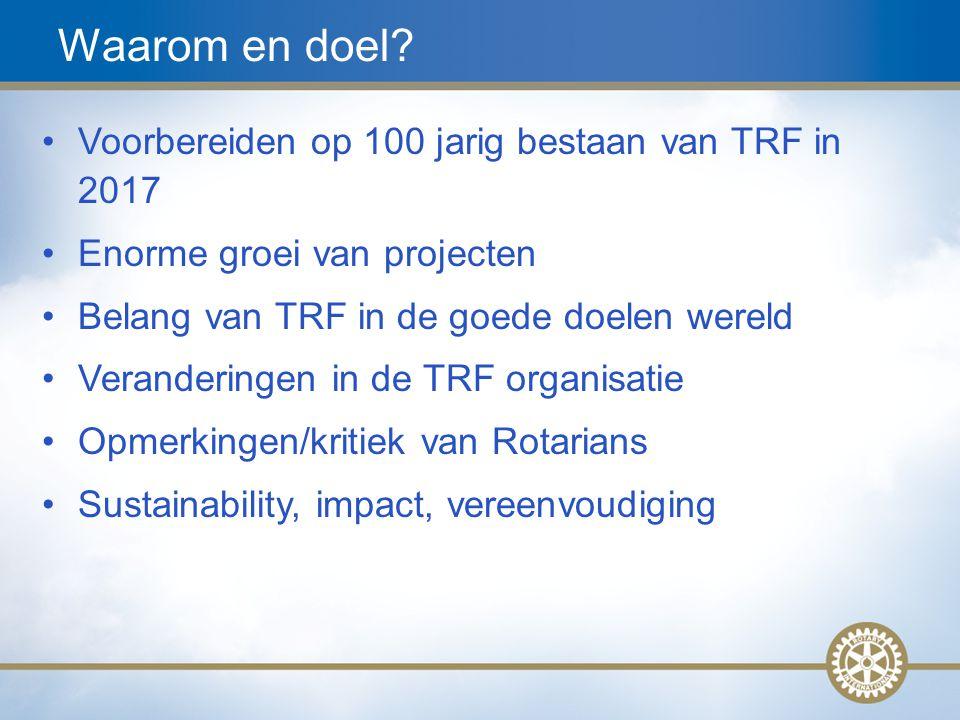 4 Waarom en doel? Voorbereiden op 100 jarig bestaan van TRF in 2017 Enorme groei van projecten Belang van TRF in de goede doelen wereld Veranderingen