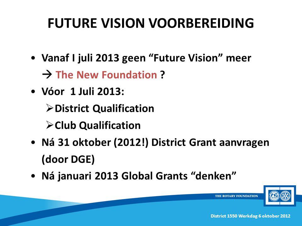 District 1550 Werkdag 6 oktober 2012 Vanaf I juli 2013 geen Future Vision meer  The New Foundation .