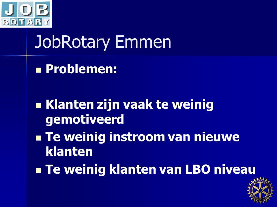 JobRotary Emmen Problemen: Klanten zijn vaak te weinig gemotiveerd Te weinig instroom van nieuwe klanten Te weinig klanten van LBO niveau