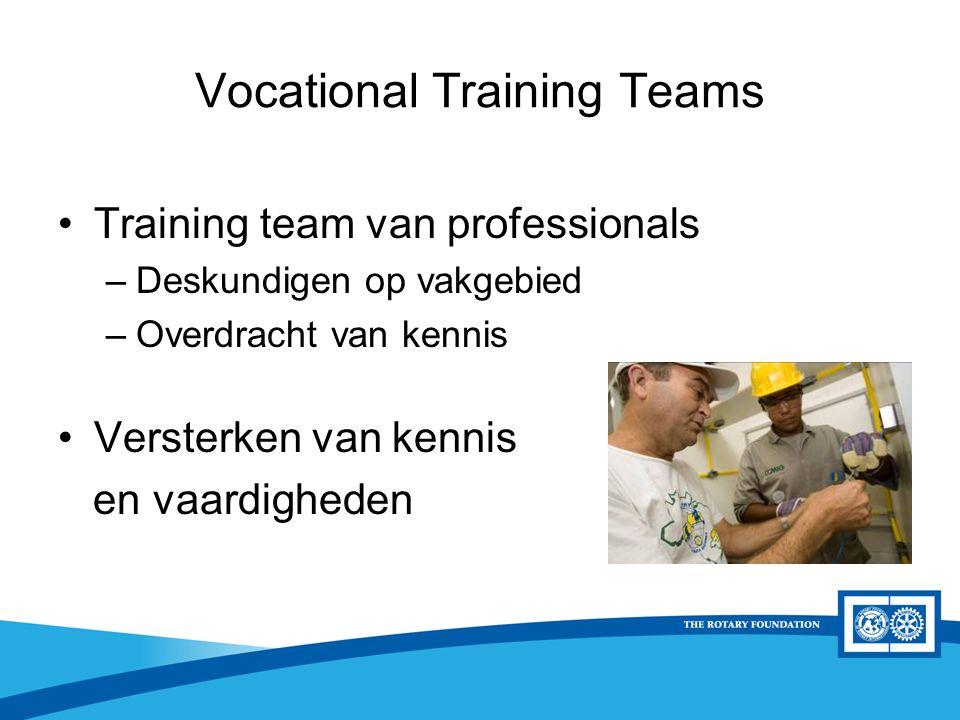 District Rotary Foundation Seminar Training team van professionals –Deskundigen op vakgebied –Overdracht van kennis Versterken van kennis en vaardigheden Vocational Training Teams