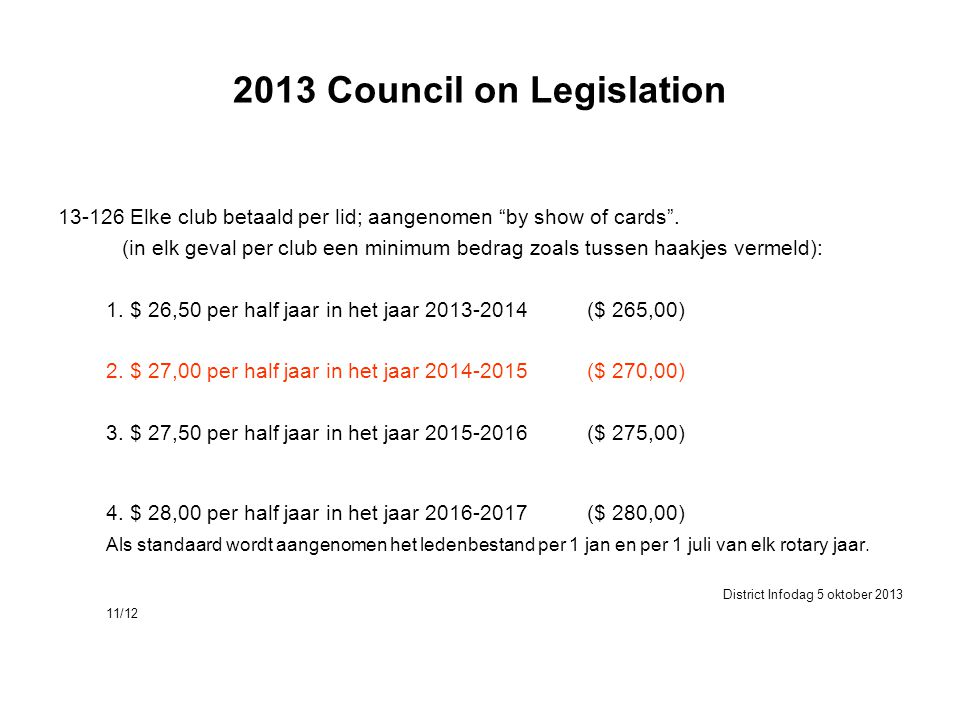 2013 Council on Legislation 13-126 Elke club betaald per lid; aangenomen by show of cards .
