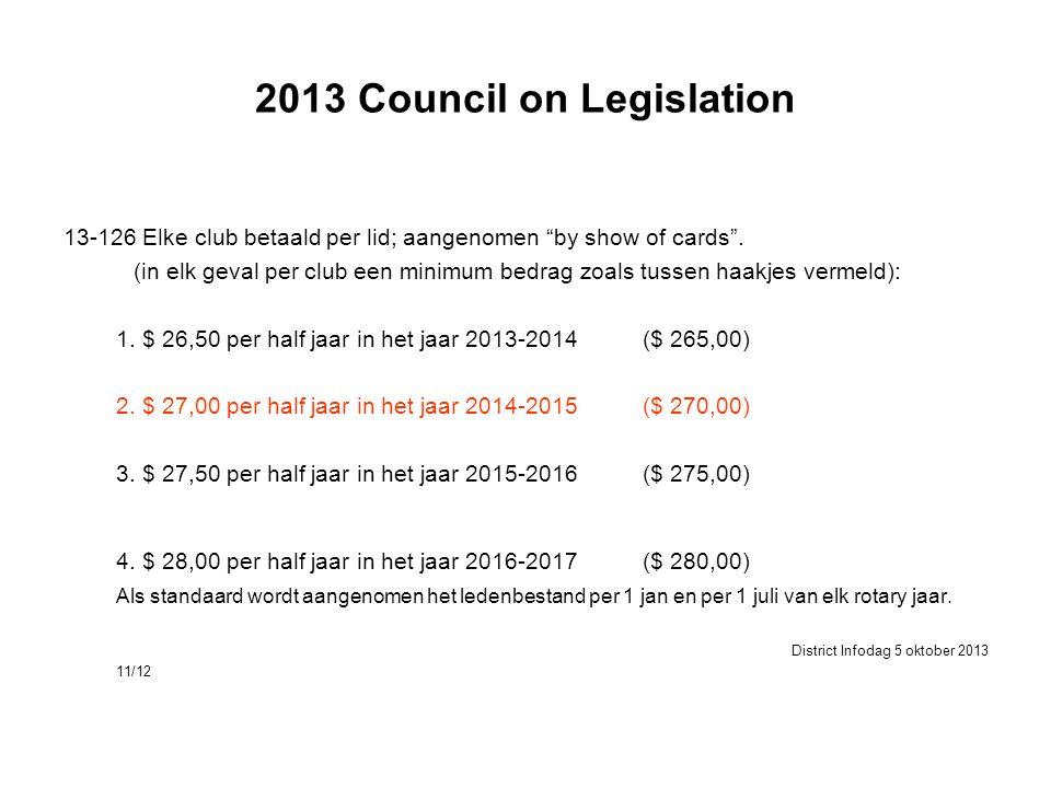 """2013 Council on Legislation 13-126 Elke club betaald per lid; aangenomen """"by show of cards"""". (in elk geval per club een minimum bedrag zoals tussen ha"""