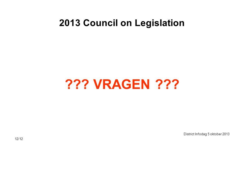 2013 Council on Legislation ??? VRAGEN ??? District Infodag 5 oktober 2013 12/12