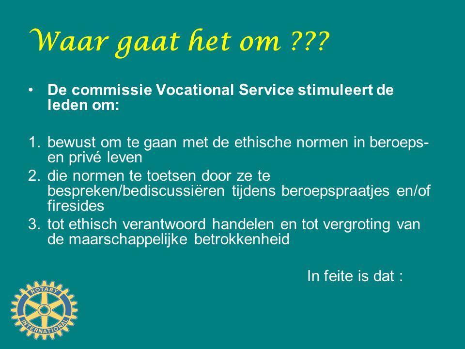 Waar gaat het om ??? De commissie Vocational Service stimuleert de leden om: 1.bewust om te gaan met de ethische normen in beroeps- en privé leven 2.d