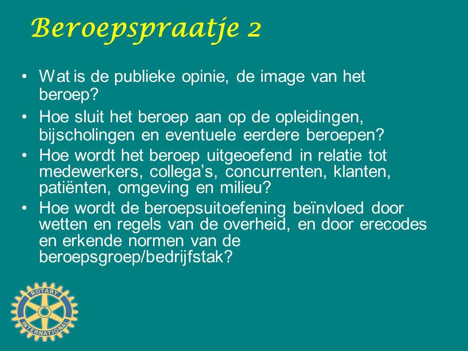 Beroepspraatje 2 Wat is de publieke opinie, de image van het beroep? Hoe sluit het beroep aan op de opleidingen, bijscholingen en eventuele eerdere be