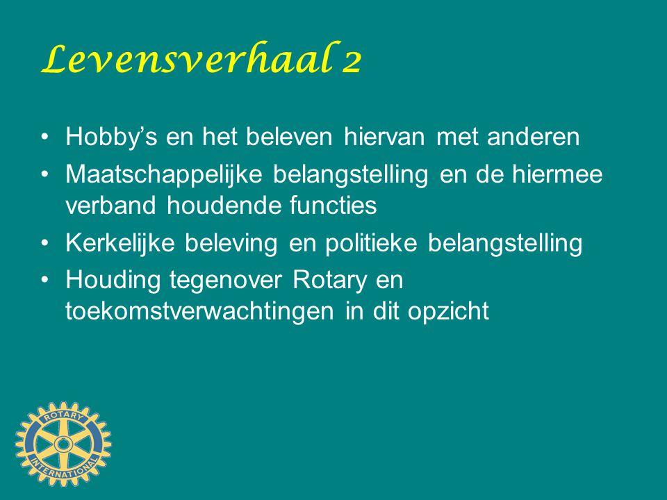 Levensverhaal 2 Hobby's en het beleven hiervan met anderen Maatschappelijke belangstelling en de hiermee verband houdende functies Kerkelijke beleving en politieke belangstelling Houding tegenover Rotary en toekomstverwachtingen in dit opzicht