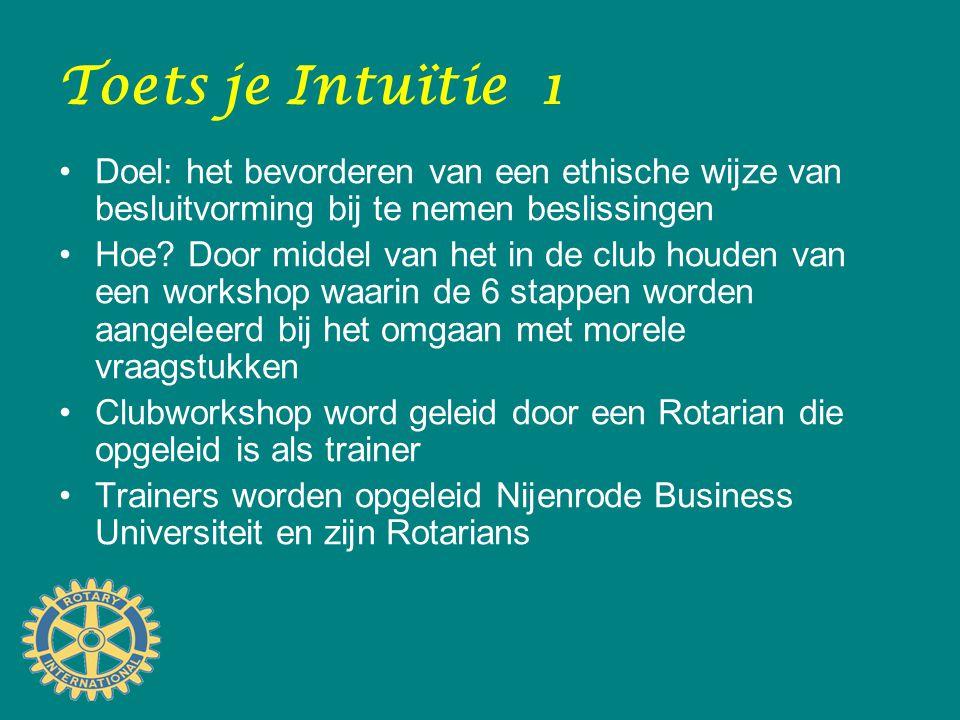 Toets je Intuïtie 1 Doel: het bevorderen van een ethische wijze van besluitvorming bij te nemen beslissingen Hoe? Door middel van het in de club houde
