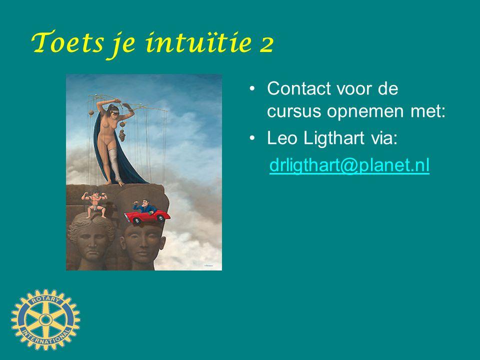 Toets je intuïtie 2 Contact voor de cursus opnemen met: Leo Ligthart via: drligthart@planet.nl