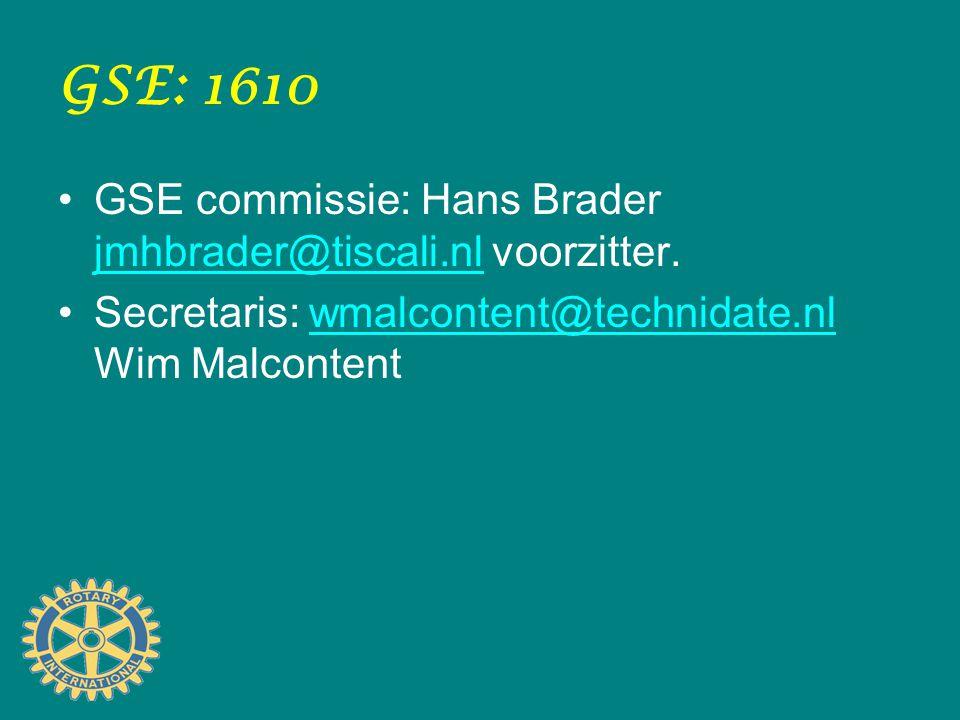 GSE: 1610 GSE commissie: Hans Brader jmhbrader@tiscali.nl voorzitter. jmhbrader@tiscali.nl Secretaris: wmalcontent@technidate.nl Wim Malcontentwmalcon