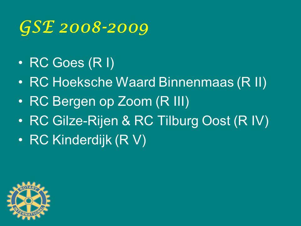 GSE 2008-2009 RC Goes (R I) RC Hoeksche Waard Binnenmaas (R II) RC Bergen op Zoom (R III) RC Gilze-Rijen & RC Tilburg Oost (R IV) RC Kinderdijk (R V)