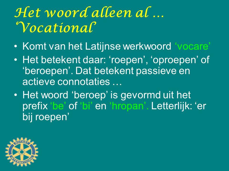 Het woord alleen al … 'Vocational' Komt van het Latijnse werkwoord 'vocare' Het betekent daar: 'roepen', 'oproepen' of 'beroepen'. Dat betekent passie