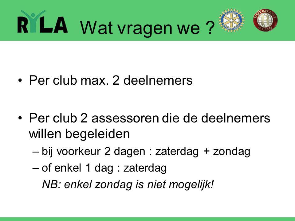 Wat vragen we ? Per club max. 2 deelnemers Per club 2 assessoren die de deelnemers willen begeleiden –bij voorkeur 2 dagen : zaterdag + zondag –of enk