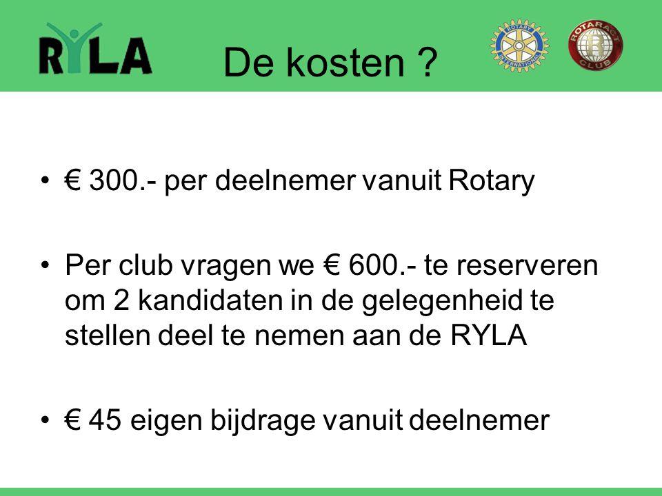 De kosten ? € 300.- per deelnemer vanuit Rotary Per club vragen we € 600.- te reserveren om 2 kandidaten in de gelegenheid te stellen deel te nemen aa
